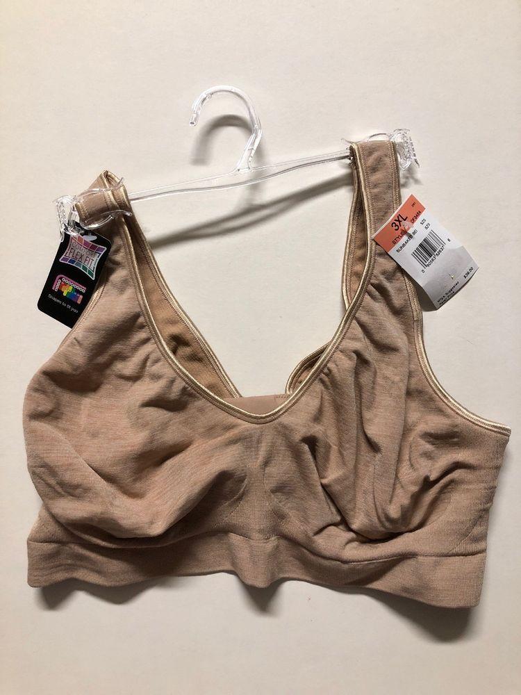 6f3fdf28c27 Bali 3484 Women s Comfort Revolution FLEX FIT Wirefree Bra Beige 3XL-NEW