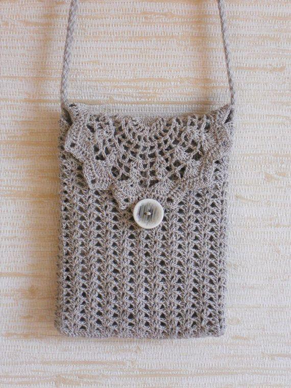 Travel wallet purse, crochet lace natural beige gray linen shoulder ...