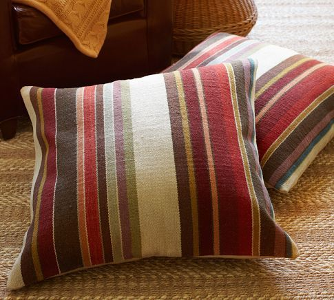 Dexter Stripe Dhurrie Floor Pillow Cover | Pottery Barn | Products I ...