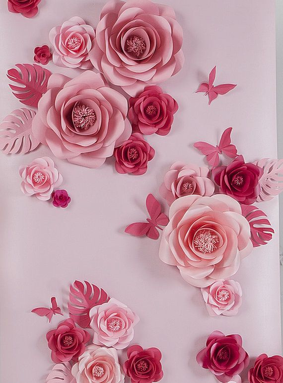 Paper flowers paper flowers backdrop wedding backdrop paper i went to a wedding once that had some large paper flowers backdrop light pink paper flowers were so elegant eye catching and memorableb to be honest mightylinksfo