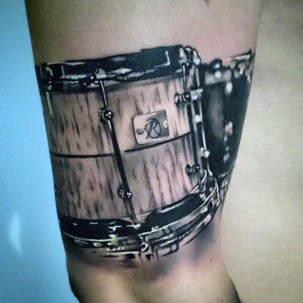 25 70 Drum Tattoos For Men Musical Instrument Design Ideas