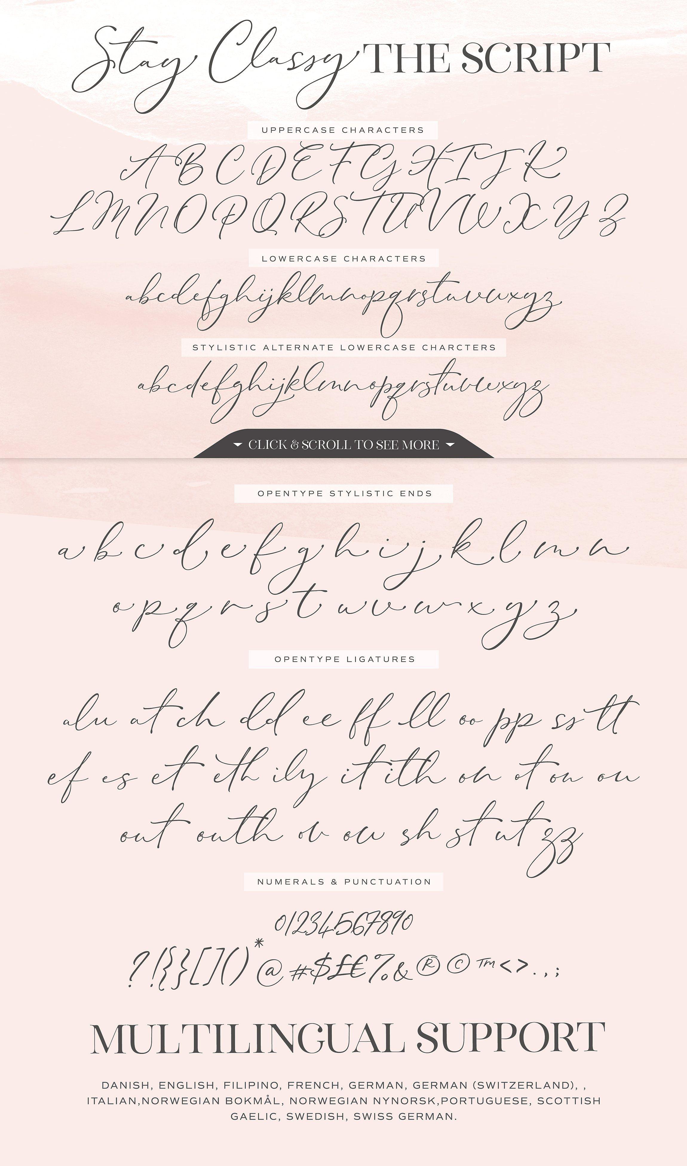 The Stay Classy Font Duo Con Immagini Scrittura Calligrafia