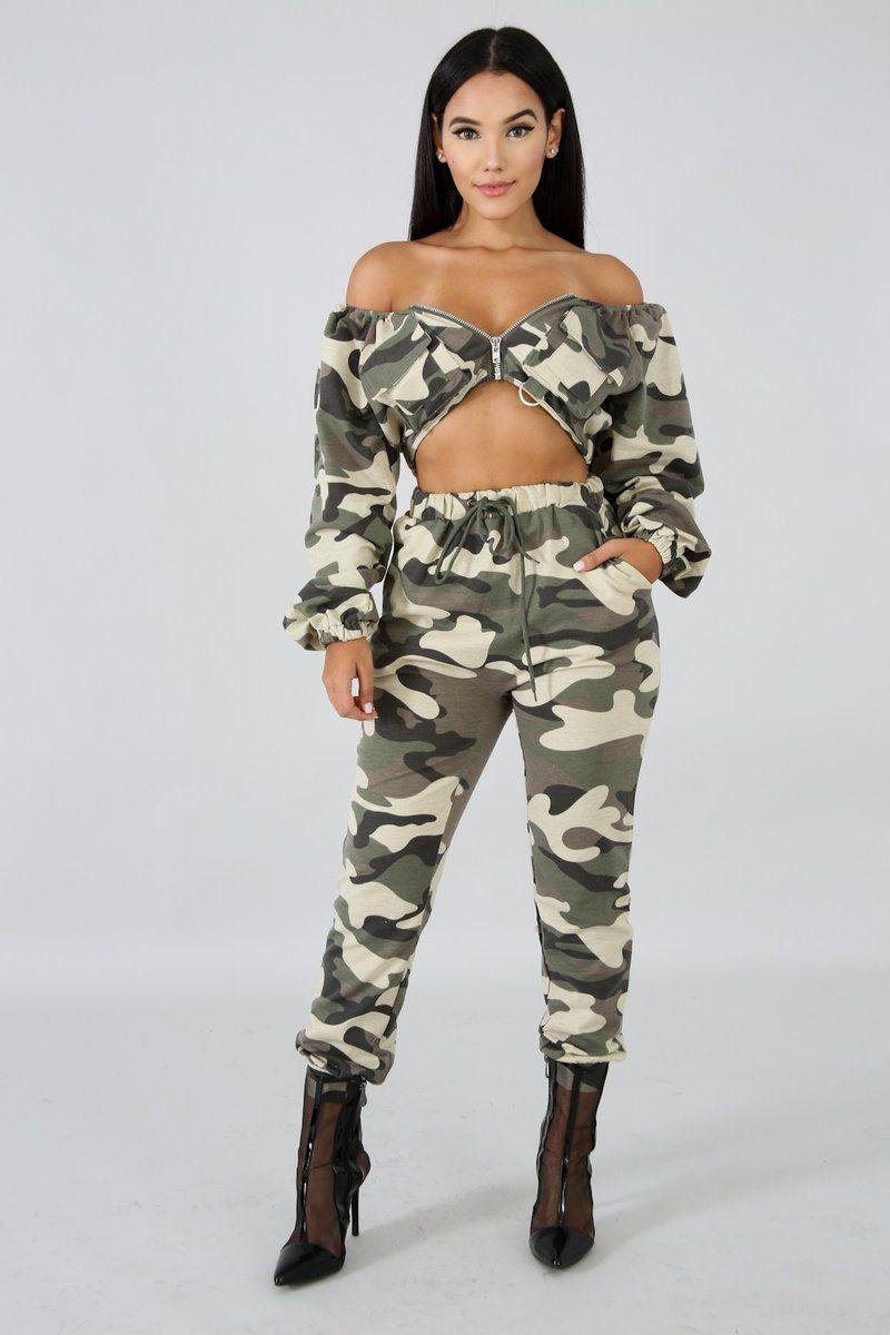 cd38fa8b634d7 Description This camouflage jogger set features, a stretchy fabric, off  shoulder neckline crop top