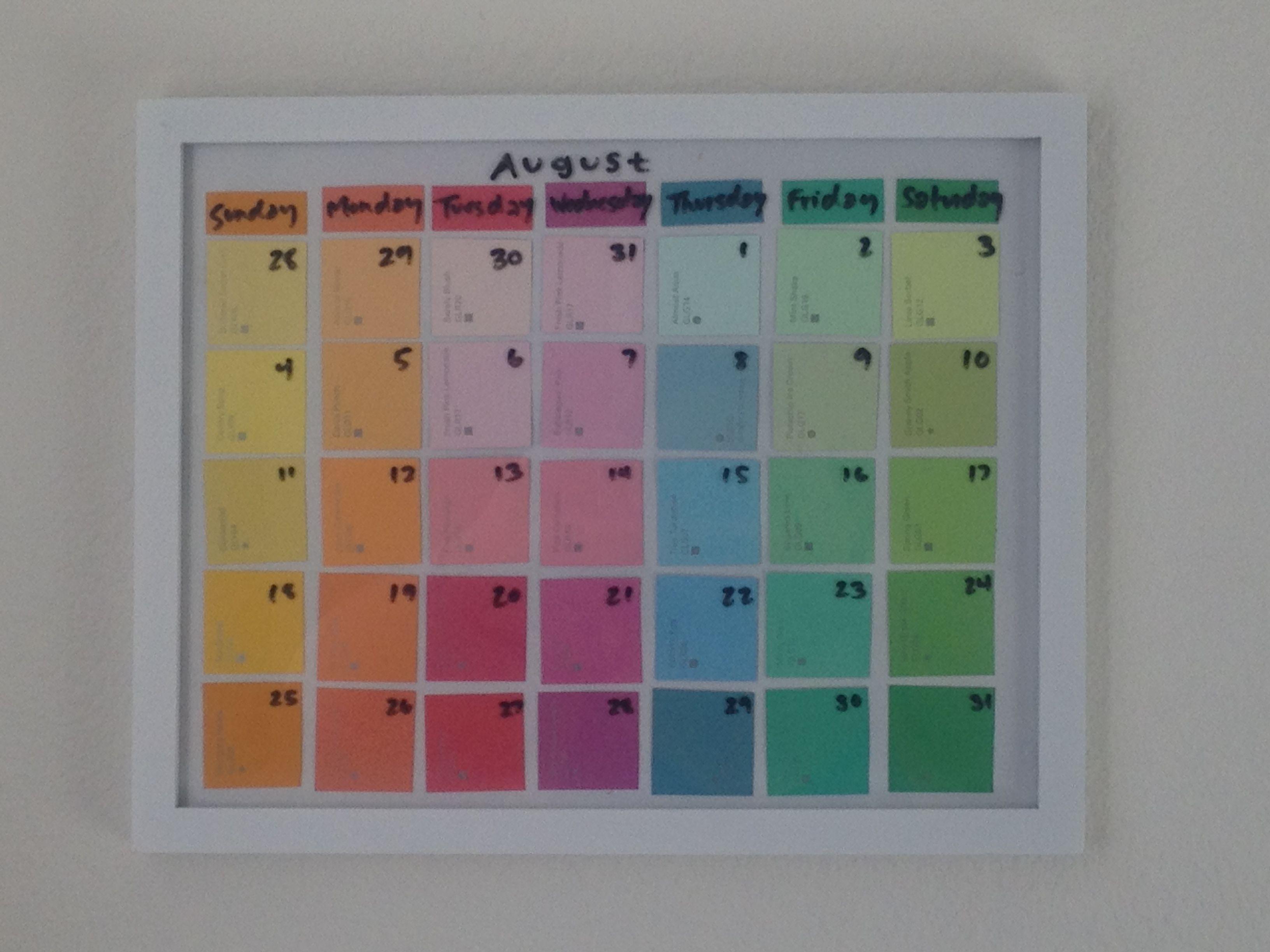 Paint Sample Calendar Diy : Paint swatch calendar also great for a chore chart use