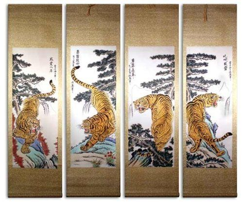 set of 4 medium hand painting chinese scroll art by asian home