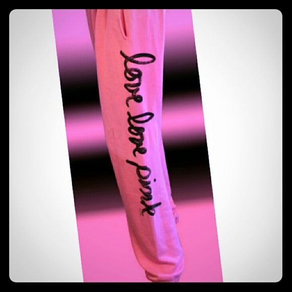 Victoria's secret pink sweatpants Like new condition.  Full length sweatpants. Size medium but personally to me they fit a little bigger but can be adjusted at the waist PINK Victoria's Secret Pants Track Pants & Joggers