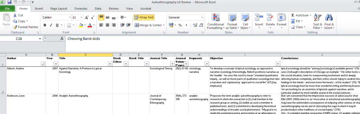 Abandon Your Word Table Using Excel To Manage Literature Review Can Make Research Quicker Easier And Ye Fun Academic Writing How Write An Autoethnography Dissertation