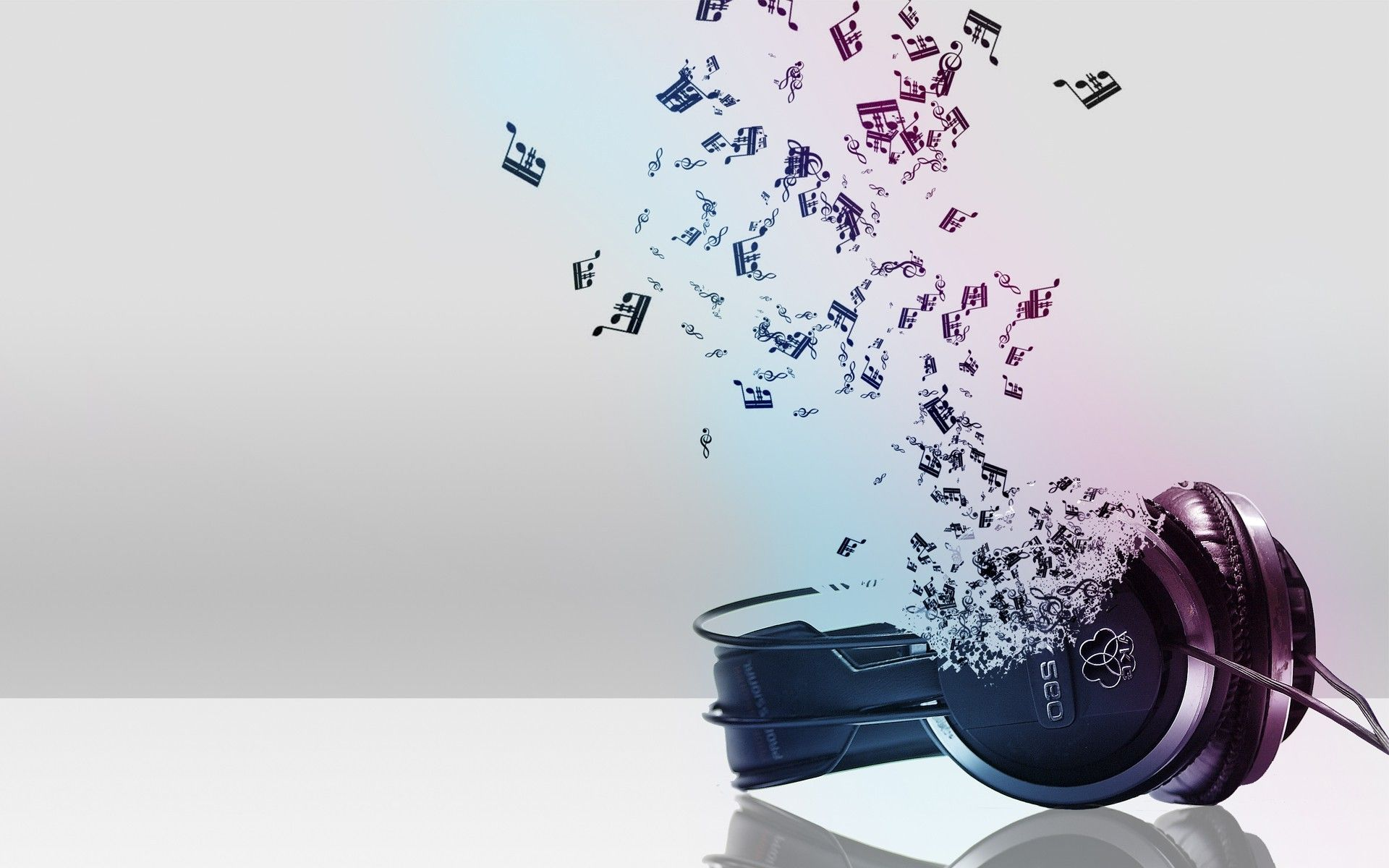 Headphones Music Notes: 3D Headphone Music Notes Wallpaper