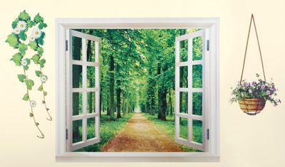 No Window No Problem Add A Window Wall Decal To Your Home Fake Window Window Mural Wall Stickers Wallpaper