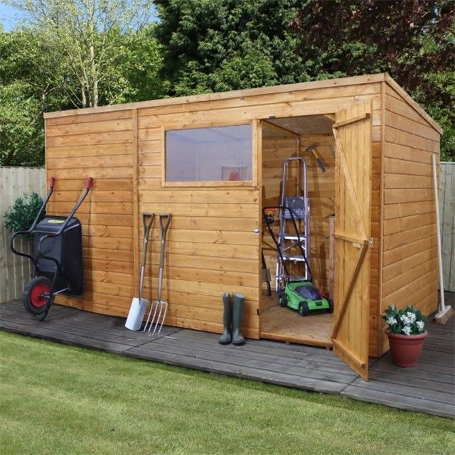 shiplap wooden pent garden shed single door windows felt included by waltons garden rattan furniture