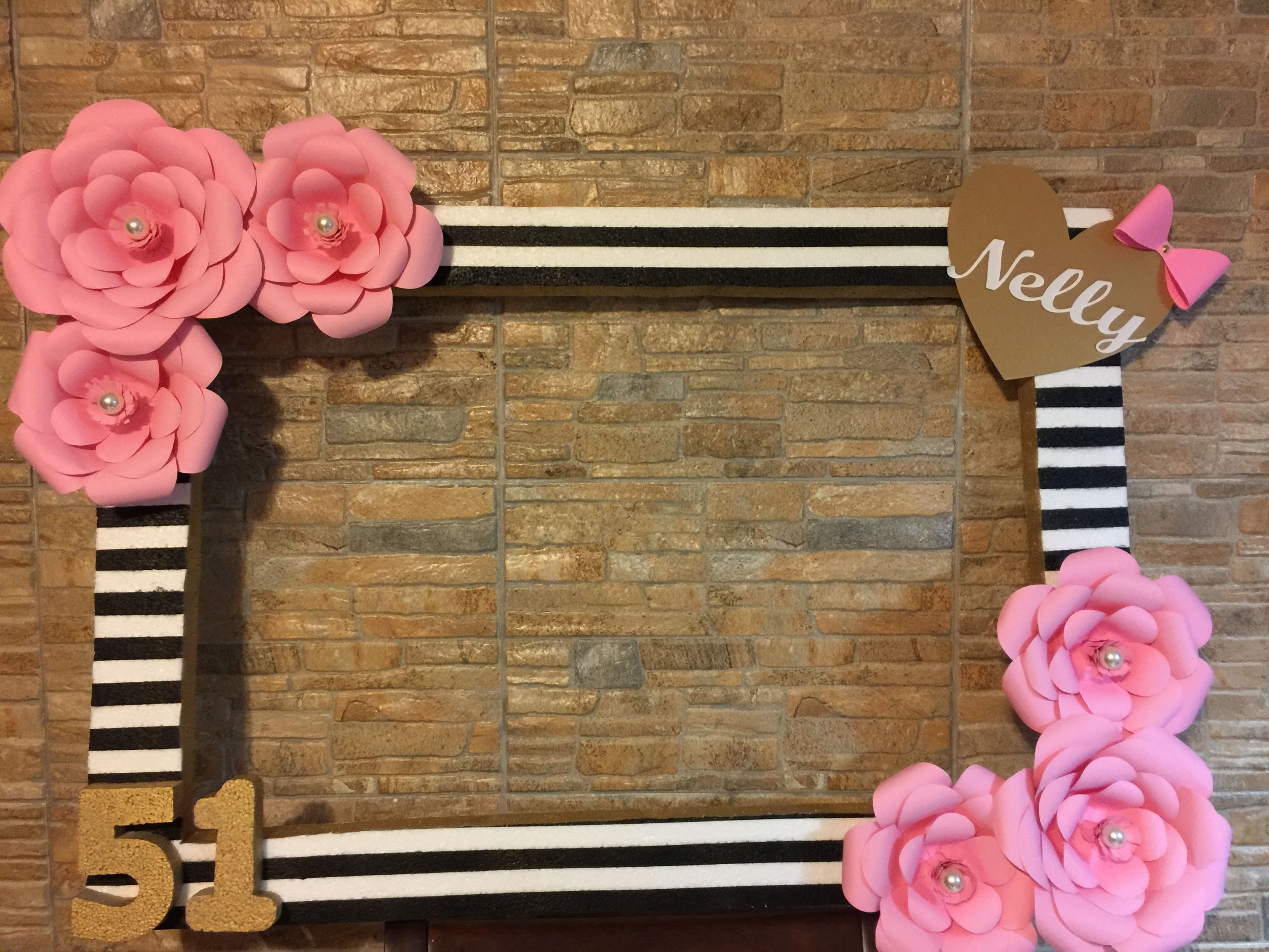 Black stripes, pink flowers with pearls and gold heart photo booth ...