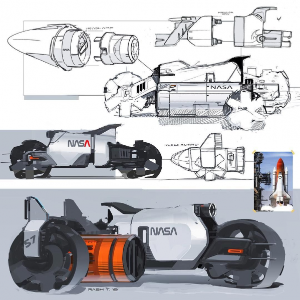 NASA bike! Any suggestions for the next one? . . . . . #photoshop #design #designsketch #conceptdesign #doodle #cardesigncommunity #carandmotorcycledesign #car #and #motorcycle #design