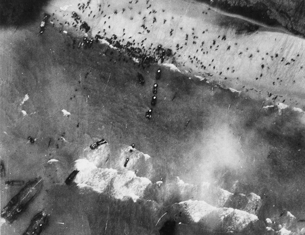 Aerial photograph of Utah beach during the Normandy Invasion. June 6, 1944.