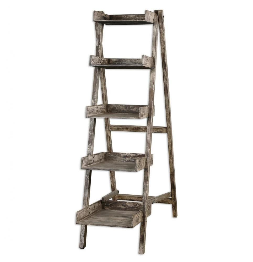 Cottage Chic Weathered Wood Distressed Ladder Shelves Rustic