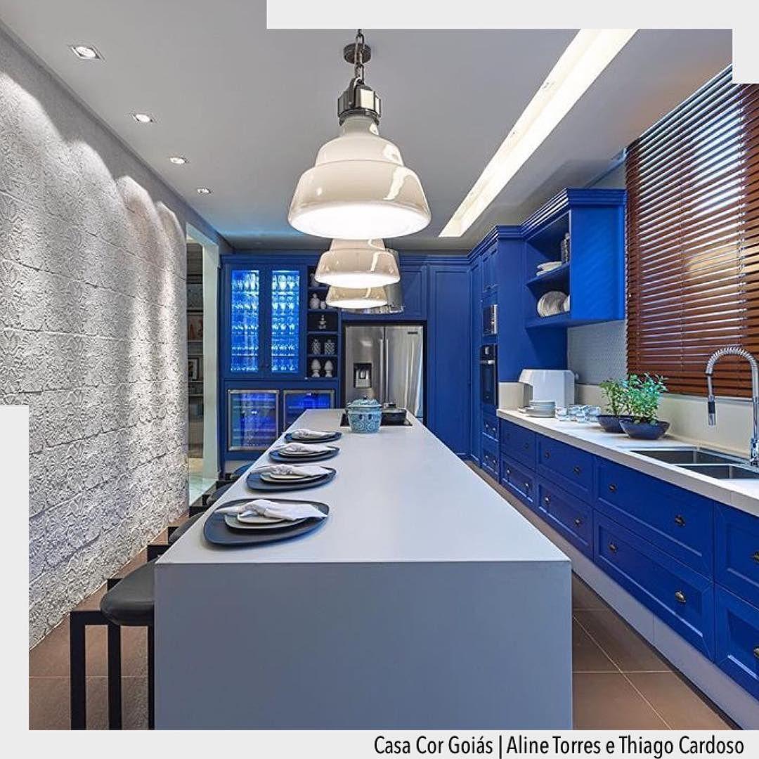 Blue Kitchen Na Mostra Casa Cor Goi S A Cozinha Estilo Proven Al