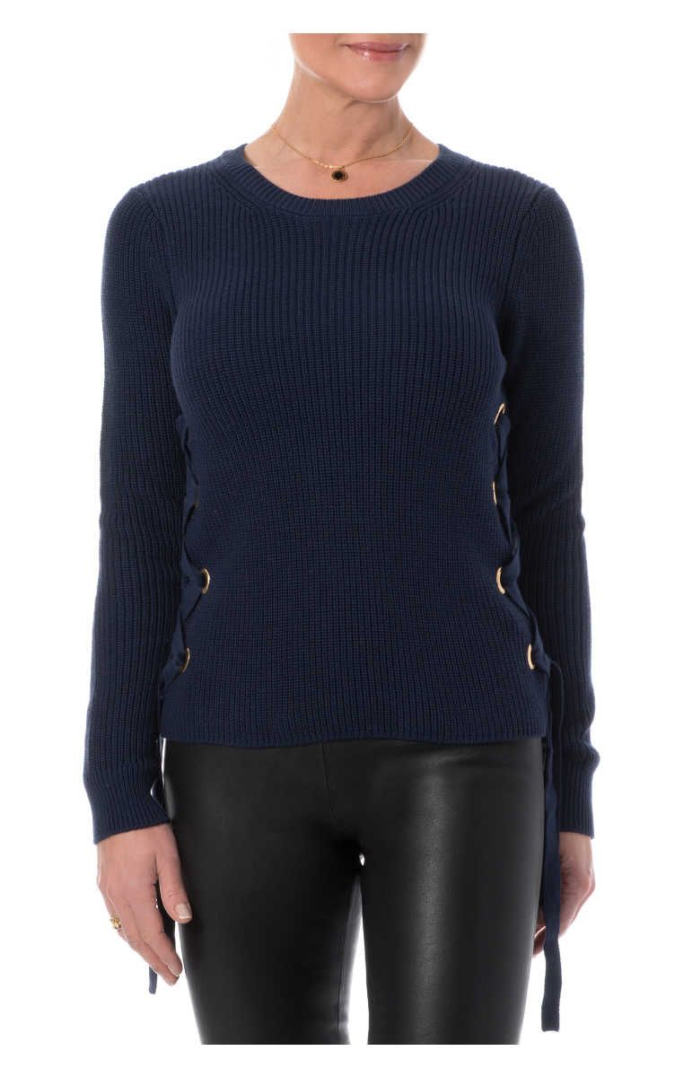Tröja Ribbed Cotton Lace-Up Sweater TRUE NAVY - Michael - Michael ...