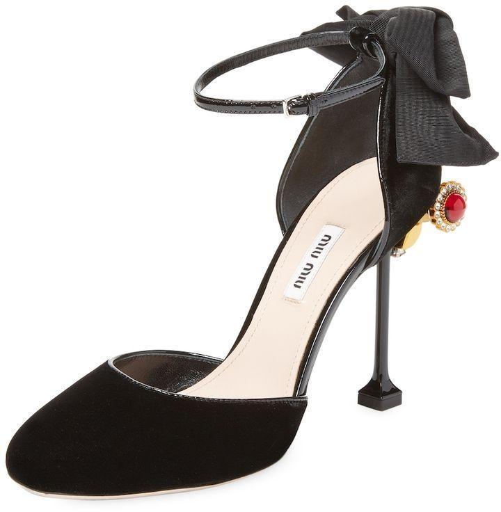 Miu Miu Women's Bow & Jewel High Heel Pump | High heels