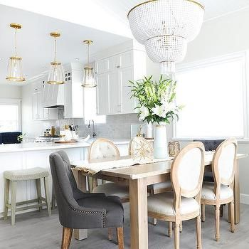 Honey Stained Dining Table With Gray Tufted Chairs With Images