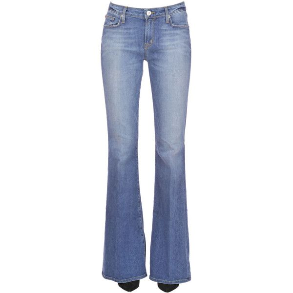 Hudson Mia Jeans ($165) ❤ liked on Polyvore featuring jeans, flare leg jeans, zipper jeans, button-fly jeans, mid-rise jeans and blue jeans