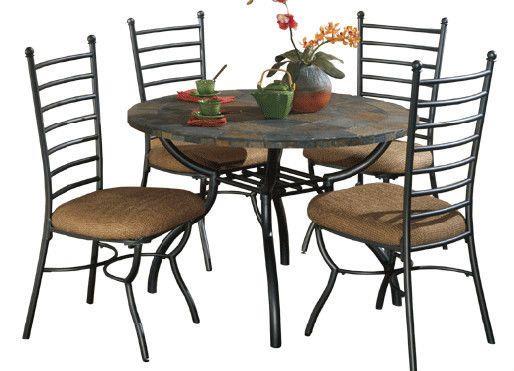 Ashley Antigo Round Fixed Slate Dining Set Table 4 Chairs Dining