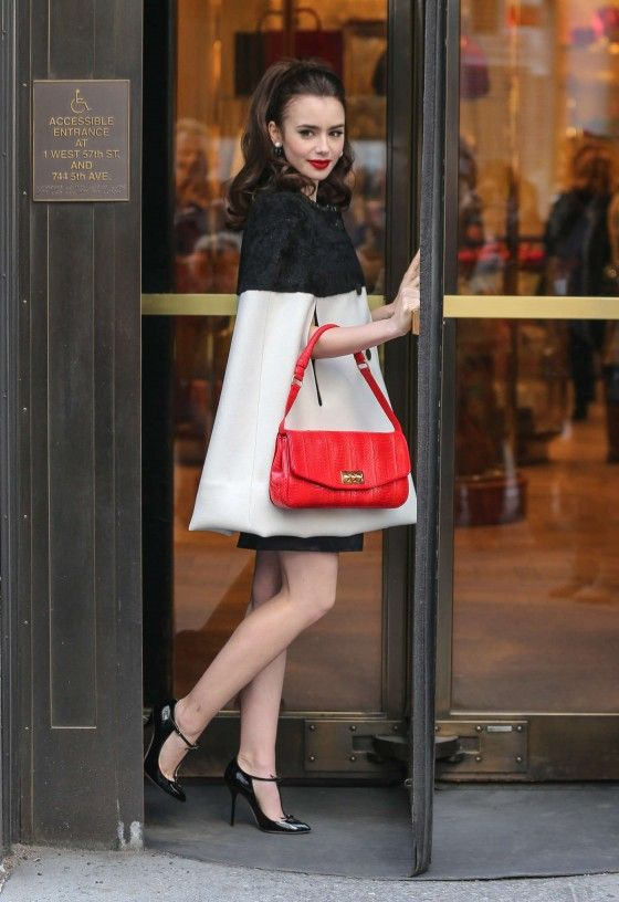 3dd1cbb1a3c Black and White Coat with Red Handbag - Lily Collins – Bergdorf Goodman  Store Photoshoot in New York  Fashion  Style  Look