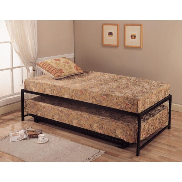 Black Steel Hi Riser Twin Bed With Pop Up Trundle