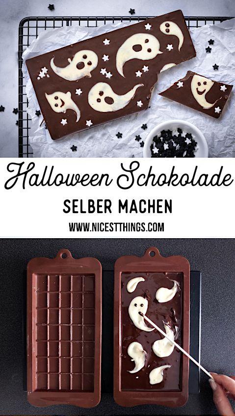 Halloween Süßigkeiten selber machen: Halloween Schokolade mit Geistern - Nicest Things