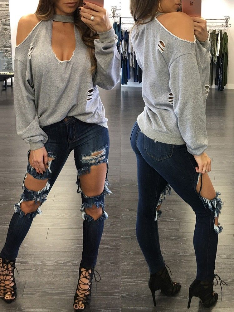 d5c471cdfe2 Sexy Women Ripped Cold Shoulder Baggy Top | wish list | Baggy tops ...