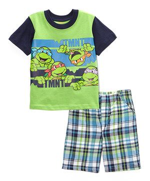 This Green & Blue TMNT Tee & Plaid Shorts - Toddler by Teenage Mutant Ninja Turtles is perfect! #zulilyfinds