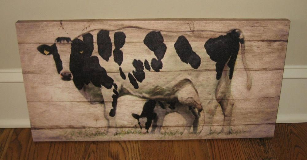 Dairy cow calf canvas wall pictureprimitivefrench