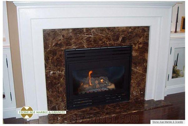 Emperador Dark Marble Tile Fireplace Marron Imperial