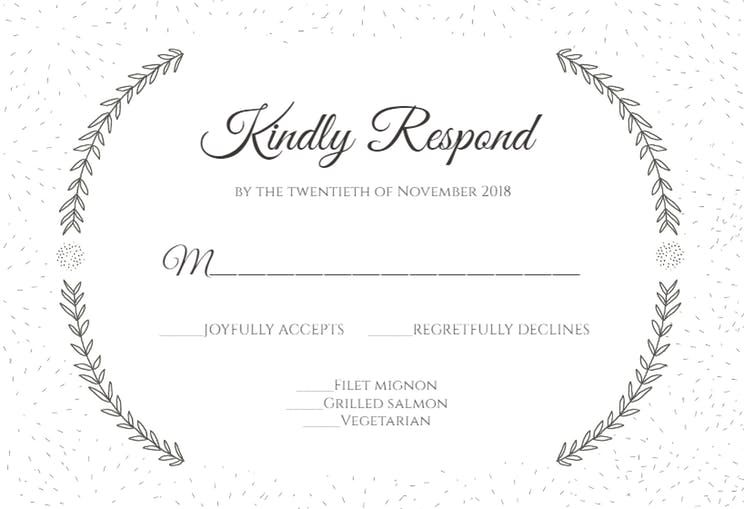 Free Rsvp Card Template Stylized Laurels  Printable Response Card Templateclick To Find .