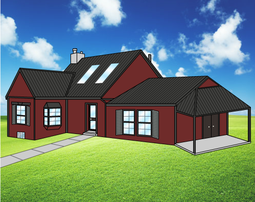 Charcoal Metal Roof With Red Siding And Dark Trim Will Have Any House Stand Out Metal Roof Red Houses Steel Metal Roofing