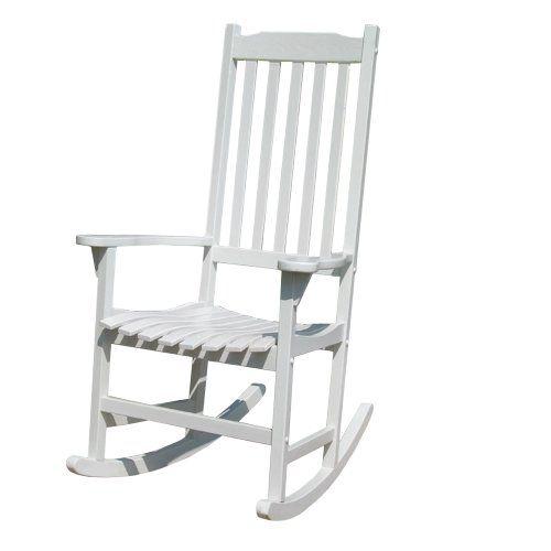 Merry Garden White Porch Rocker Rocking Chair Acacia Wo