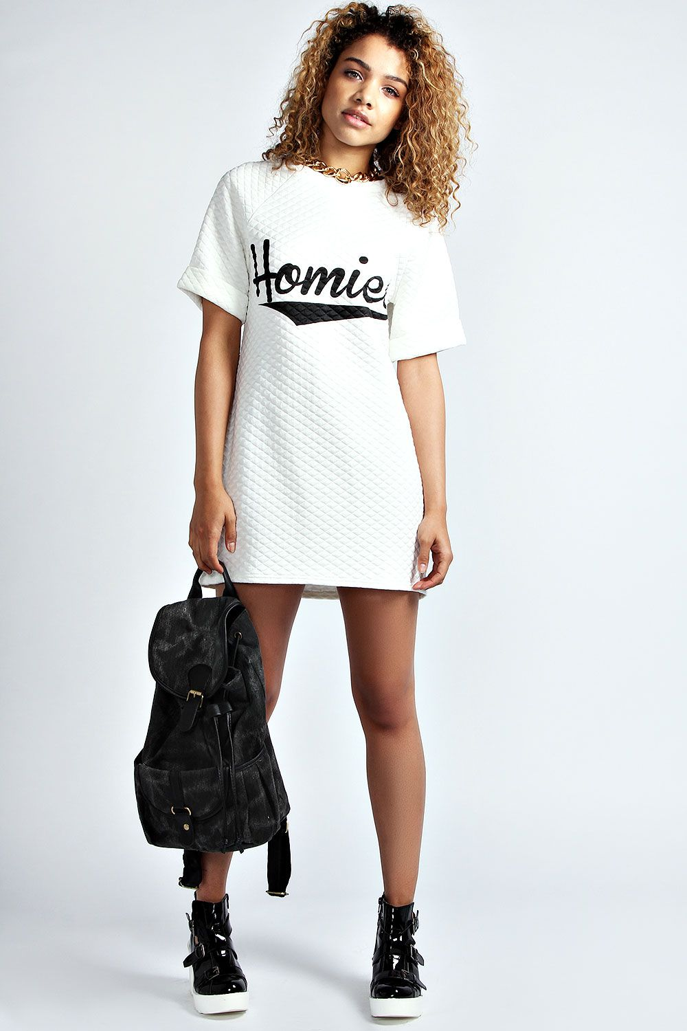 White t shirt dress outfit - Homie Quilted Tshirt Dress Urban Fashion Hip Hop Fashion Swag Dope