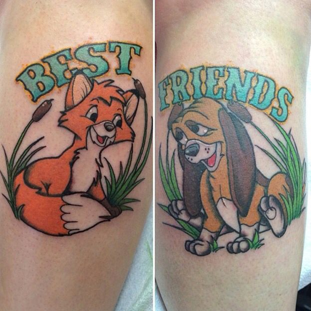 Fox And The Hound Tattoos Tattoos For Daughters Disney Tattoos Matching Disney Tattoos
