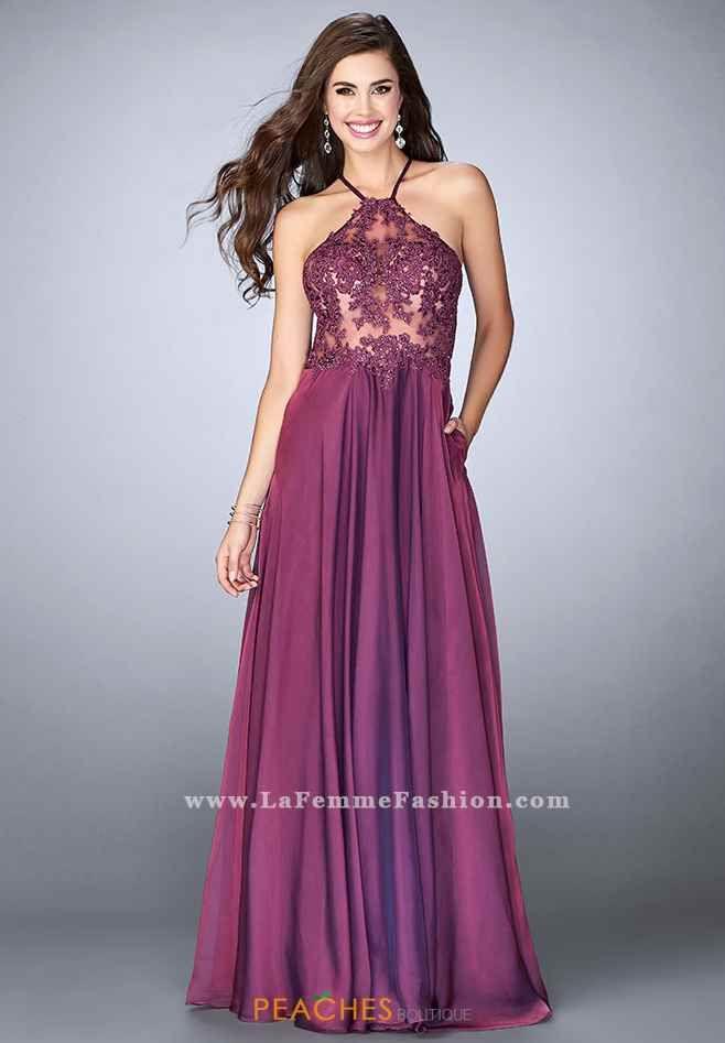 La Femme Halter A Line Dress 23991 | prom | Pinterest