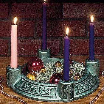 Nativity Scene Antique Goldtone Resin Stone Christmas Advent Candle Holder