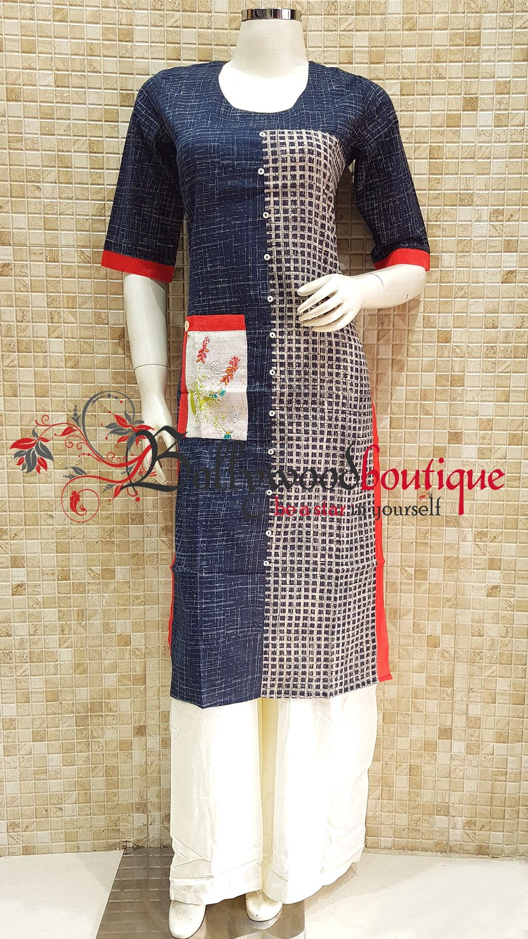 Designer kurti fabric cotton color multi color blue style