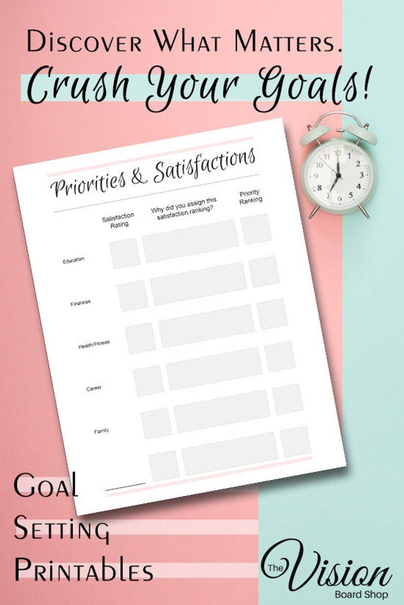 Priorities Worksheet Goal Setting Self Help Printables Priorities Personal Development Printable Life Goals Planner Worksheet Goals Planner Life Goal Planner Goal Setting