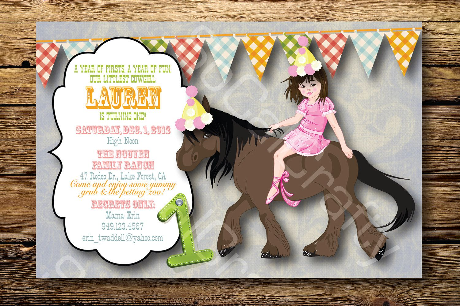 Cowgirl Birthday Party Invitation Horse Shabby Chic Country Teal Pink Yellow DIY Printed Or Printable Invitations