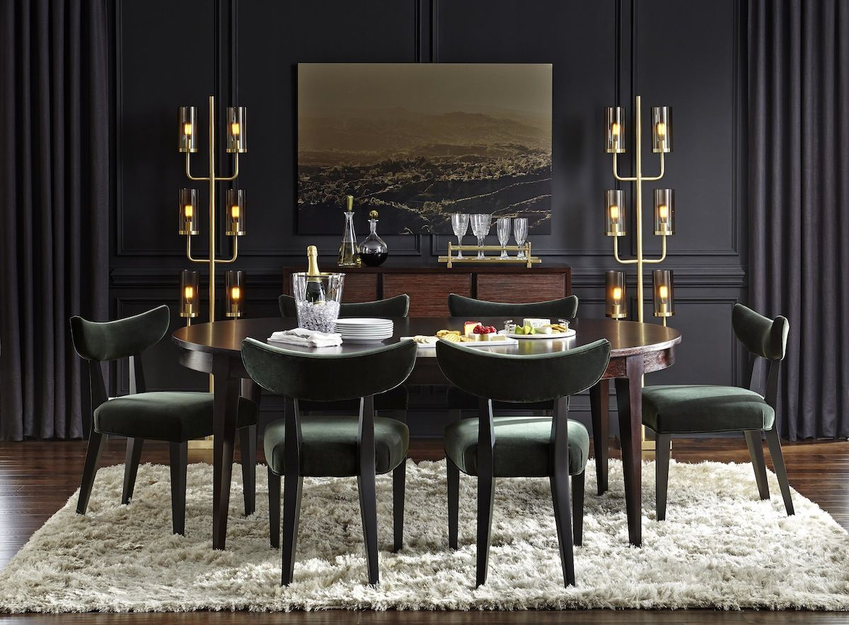 newell dining extension table and turner chairs in dark green velvet