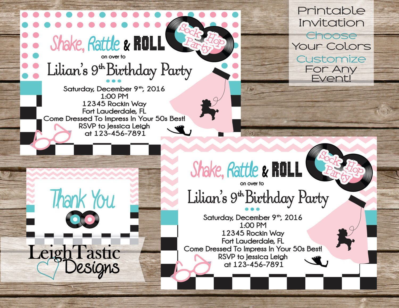 PRINTABLE 50\'s Sock Hop Invitation Birthday Party 50\'s Party- Sock ...