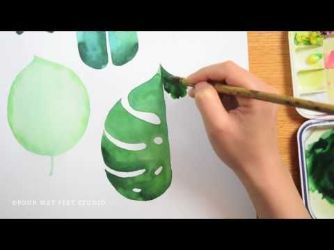 Painting Tropical Leaves Youtube Tropical Painting Watercolor