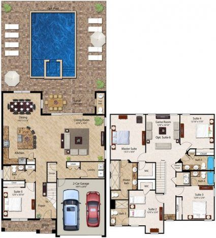 59 Trendy House Plans One Story With Pool Square Feet House Layout Plans House Layouts Pool House Plans