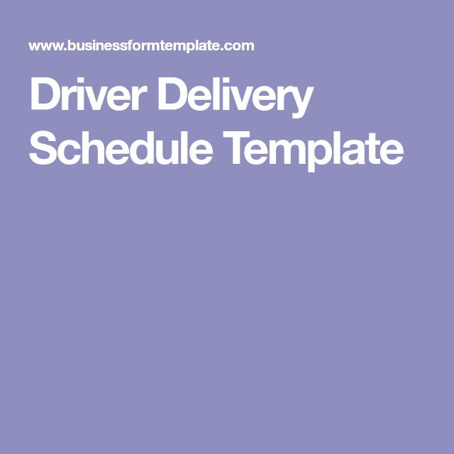 driver schedule template