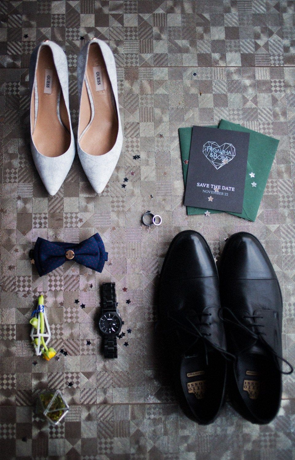 the shoes of the groom and the bride