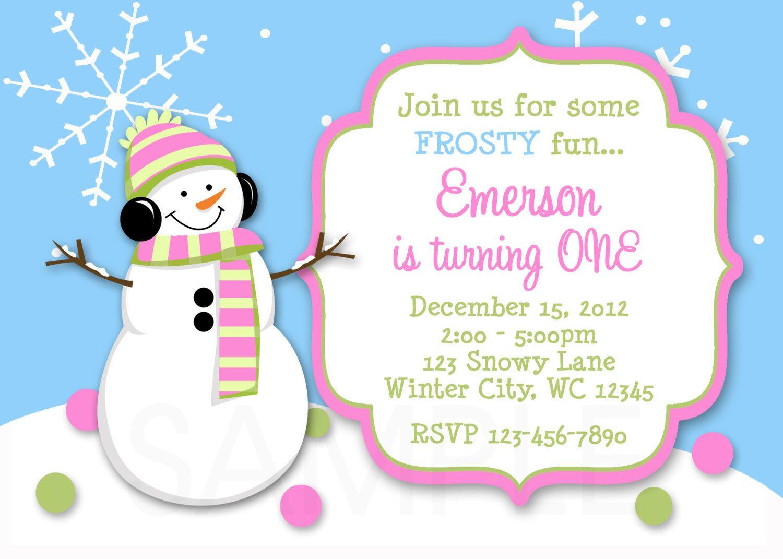 Girls Snowman Winter Birthday Invitation Party Invite Template Winter Birthday Invitations Free Printable Birthday Invitations Boy