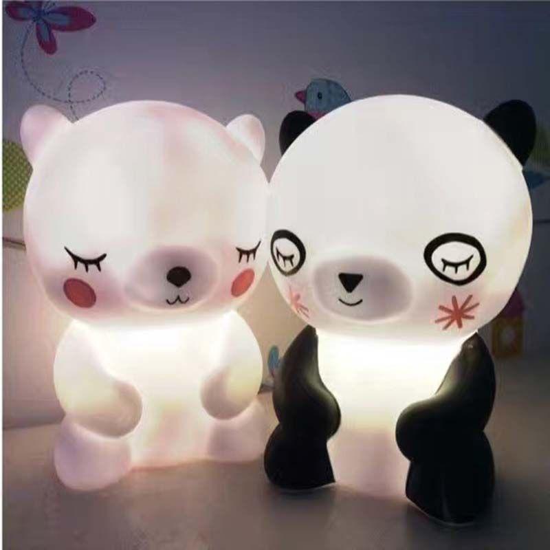 Factory Cute Sleep Panda Baby Light White Bear Cartoon Night Light Wholesale Price Kids Bed Table Lamp Bath Night Light Kids Animal Night Light Night Light