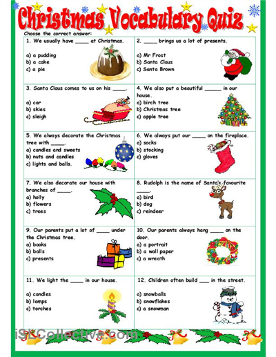 Christmas Vocabulary Quiz worksheet Free ESL printable